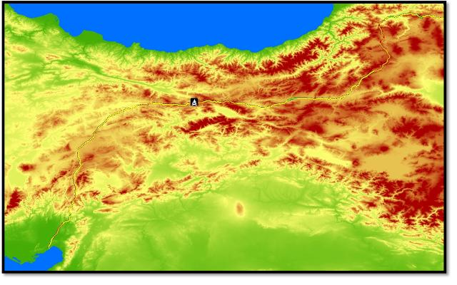 MODIS hotspot detection of the sabotage (in black) overlaid on the Digital Terrain Model of the area